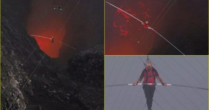 Realizoi marifetin më të rrezikshëm në karrierën e tij – burri eci 600 metra mbi vullkanin aktiv, përgjatë një teli çeliku